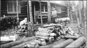 Woman and cat by a large woodpile