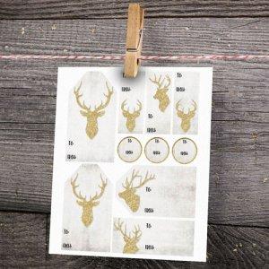 Free Printable Glitter Deer Gift Tags