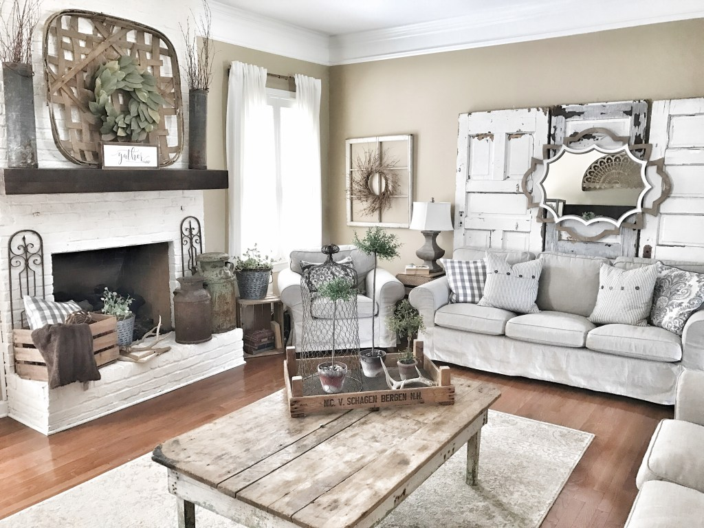 10 Gorgeous Farmhouse Living Rooms - Hallstrom Home on Farmhouse Style Living Room Curtains  id=21616