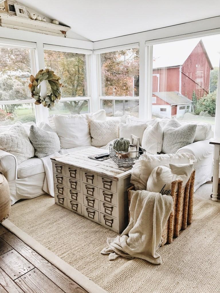 10 Gorgeous Farmhouse Living Rooms - Hallstrom Home on Curtains For Farmhouse Living Room  id=33918