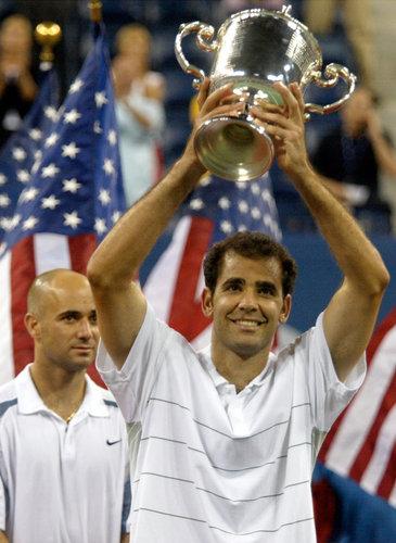 Pete Sampras after winning 2002 US Open