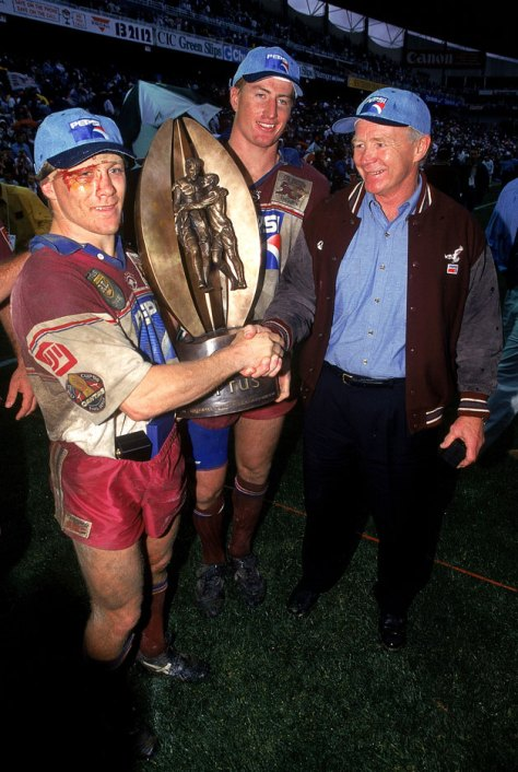 Geoff Toovey, Beaver Menzies and Coach Bob Fulton as 1996 Champions