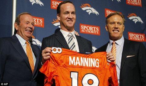 Mr B with Peyton Manning and John Elway