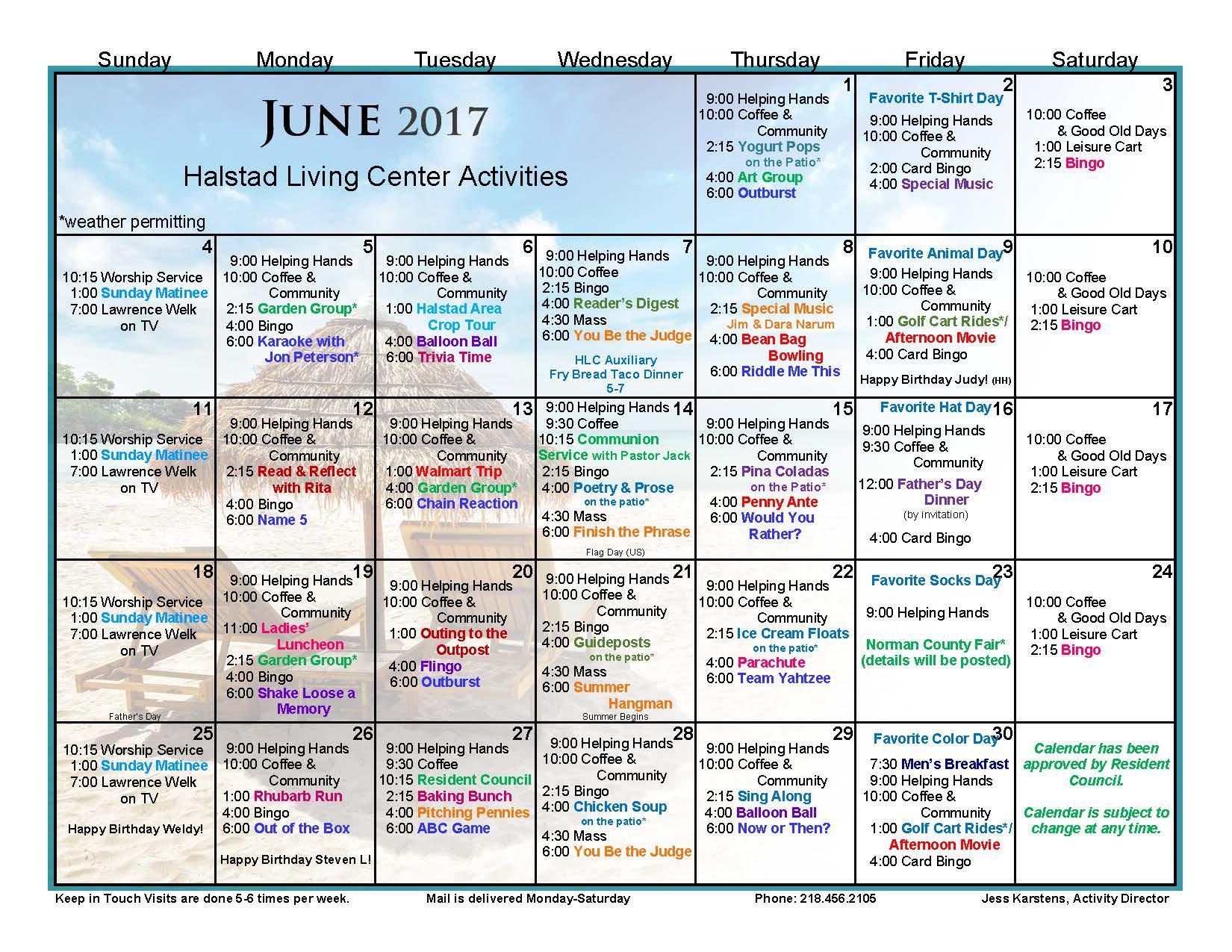 Halstad Lutheran Living Center Events