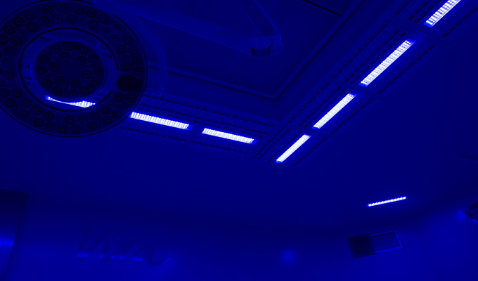 Antibiotic resistance, innovation for operating rooms, disinfection blue  light