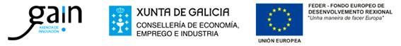 Logos Xunta de Galicia, Fondo Europeo de Desarrollo Regional (FEDER) y Agencia Gallega de Innovación (GAIN