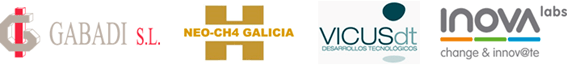Logos de las empresas NEO-CH4 Galicia, Gabaldi, Inova Labs y Vicus dt