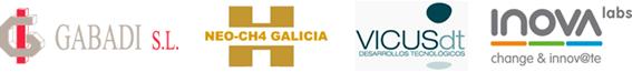 Logos de las empresas NEO-CH4 Galicia, Gabaldi, Vicus dt e Inova Labs