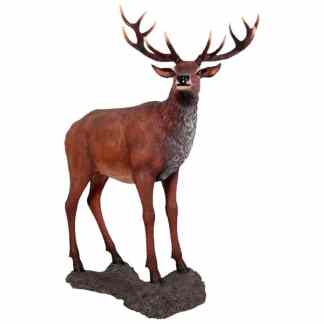 Red Deer Stag on Base statue