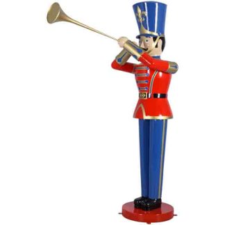 Large Toy Soldier & Trumpet - Red / Blue statue