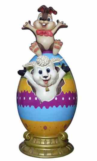 Easter Egg with Lamb & Bunny prop