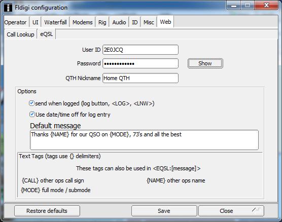 fldigi eQSL Setup Screen