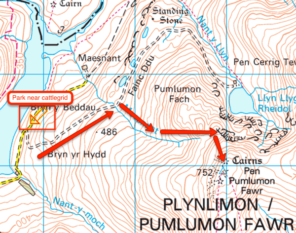 Route up Plynlimon-Pen Pumlumon Fawr