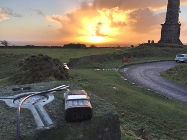 NYE sunset with Yaesu FT-270 in foreground