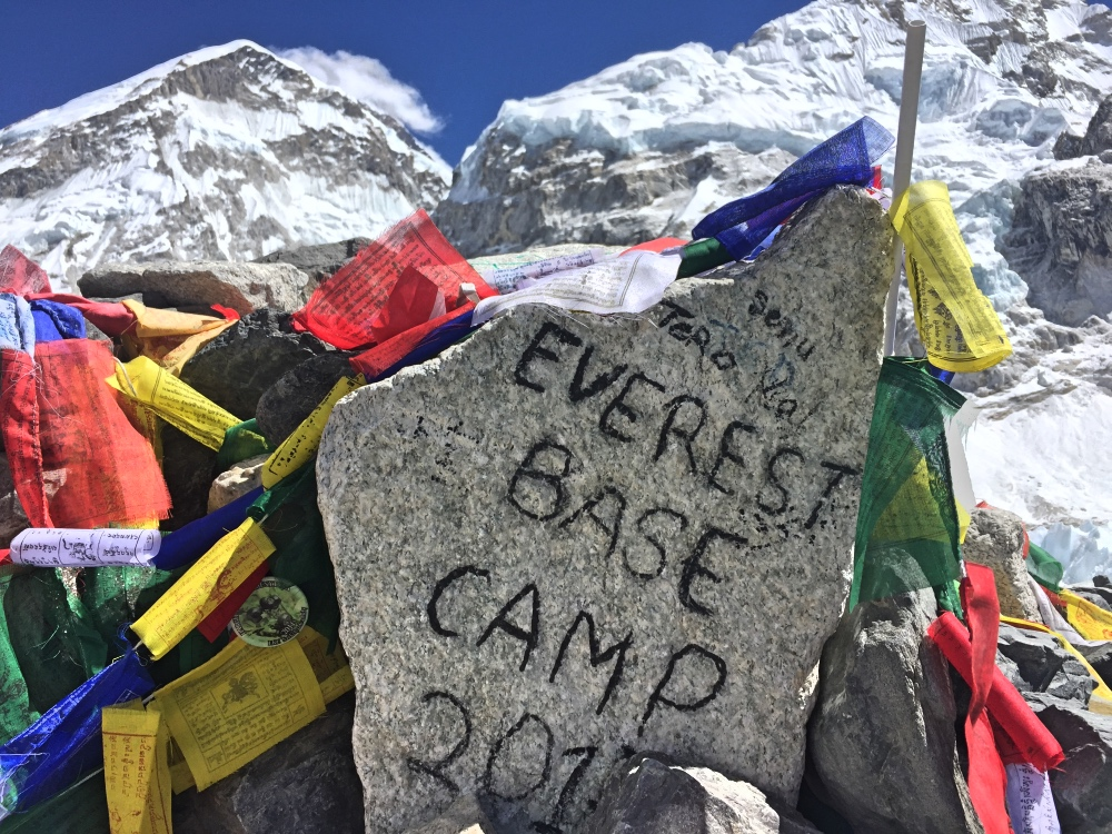 No permanent sign at Everest Base Camp.. because it's on a moving glacier!