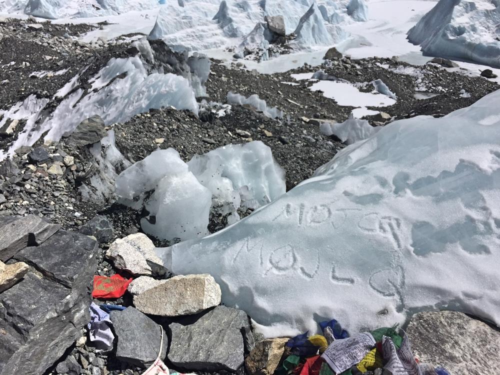 Callsign carved into glacier at Everest Base Camp