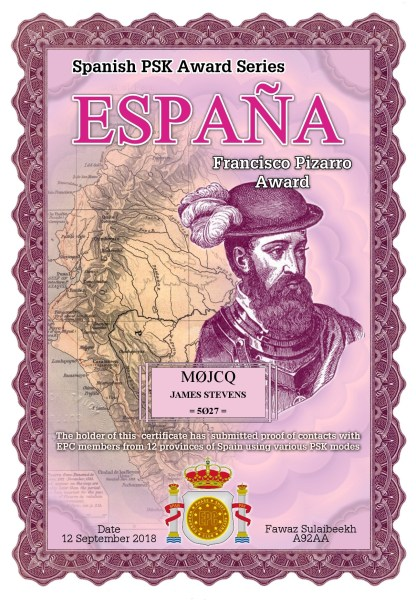 Francisco Pizarro Award - Worked EPC Members in 12 provinces of Spain