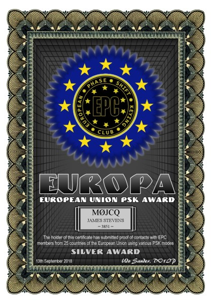 European Union PSK Award - Silver - Worked 25 EU countries using PSK