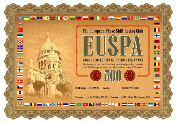 Working 500 European Stations PSK Award