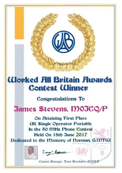 WAB Contest - 50Mhz - First Place 2017