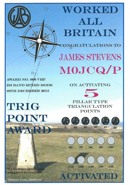 WAB Trig Point Award - 2m Band - 50 endorsed