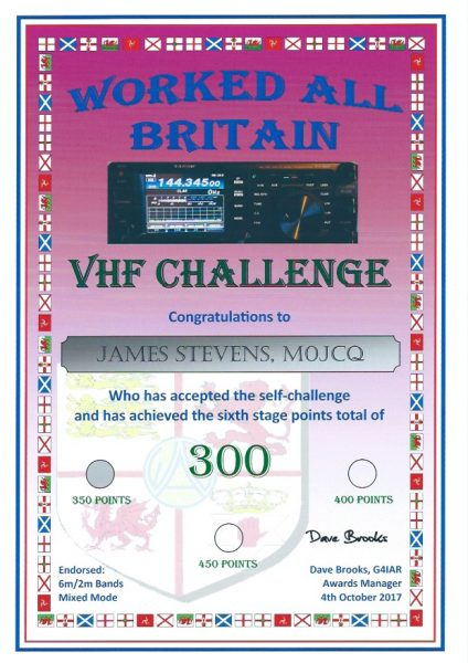 WAB VHF Challenge 2017 - Second Certificate - 300 pts endorsed