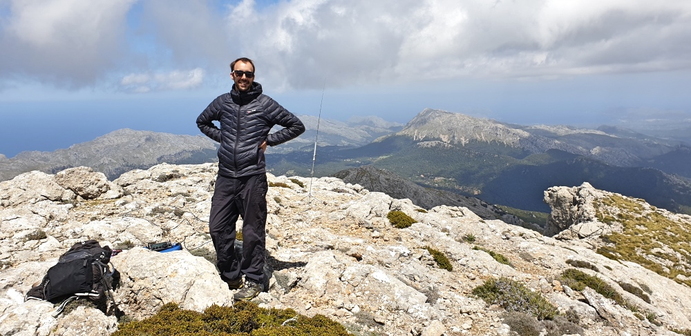 The author on Massanella - it's still cool on Mallorca's summits!