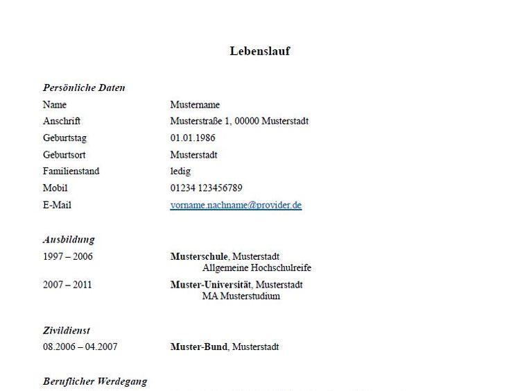 Der tabellarische lebenslauf ist das herzstück jeder bewerbung. Lebenslauf Muster Und Tipps Zum Download Hamburg De