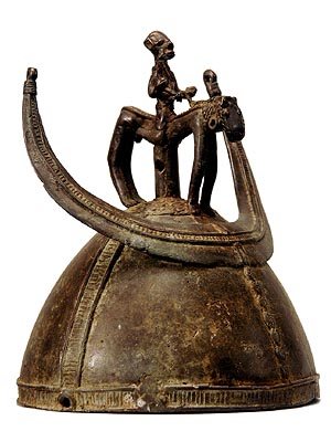 cowries metal strips beads crown-like helmet cast bronze darker photos