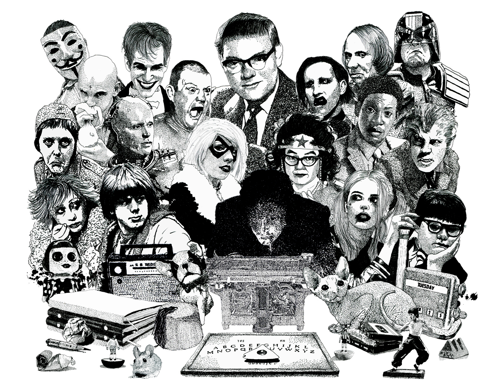 Psychic Investigator Hamilton Coe surrounded by allies and adversaries. Featured characters include Jilted John, Robocop, Erkan Mustafa as Roland Browning, Roots Manuva, Michel Houellebecq, Marilyn Manson, Genesis P Orridge