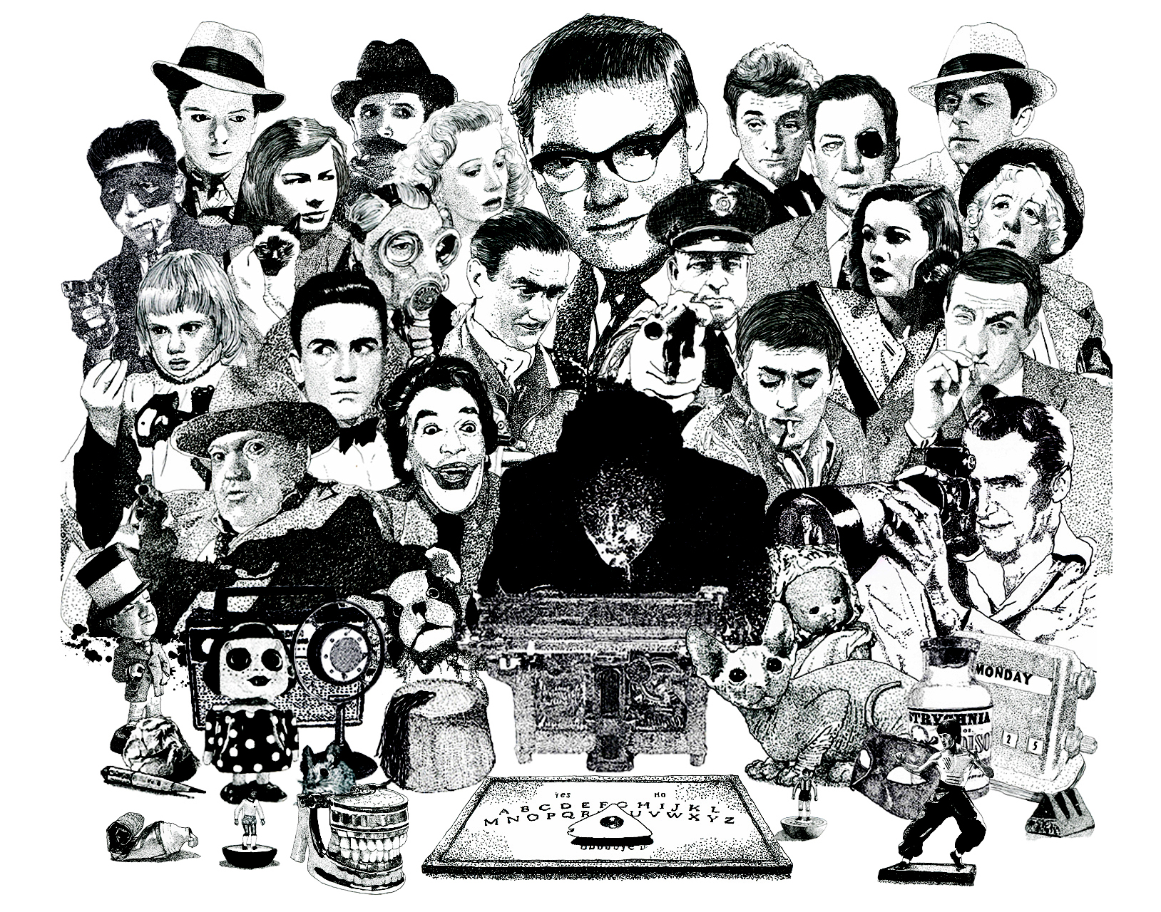 Psychic Investigator Hamilton Coe surrounded by characters associated with film noir and crime fiction. Featured characters include Orson Welles in Touch of Evil, James Stewart in Rear Window, Hayley Mills in Tiger bay, Richard Attenborough in brighton Rock, Clifton Webb in Laura, Robert Mitchum in Night of the Hunter, roman Polanski in Chinatow, Margaret Rutherford as Miss Marple, Ivor Novello as The Lodger, Patricia Highsmith, Lino Ventura, Alain Delon Gene Tierney
