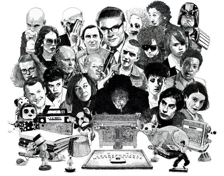 Psychic investigator Hamilton Coe surrounded by allies and adversaries. Featured characters include Patricia Highsmith, Donna Tartt, Roots Manuva, Susan Tully, Judge Dredd, Robocop, Hayley Mills, Shirley Jackson, William Reid and Keith Harris and Orville.