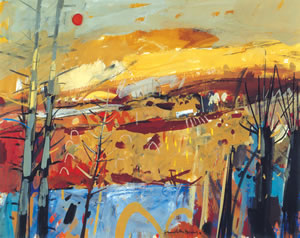 Painting of an autumn day in Perthshire, Scotland by Hamish MacDonald. Yellows, Browns and autumnal colours