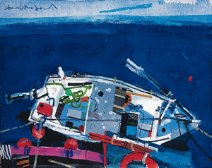 Painting of Ullapool Harbour with a small fishing boat, by Hamish MacDonald