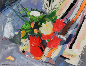 A Painting of a Red Coffee Pot, next to a large bunch of flowers, a 1995 piece by Hamish MacDonald