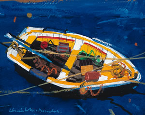 Painting of a Yellow Boat in Crail Harbour in Scotland by Hamish MacDonald