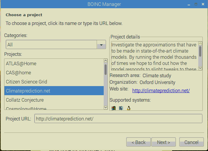Selecting Which Project To Add in BOINC