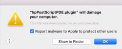 macOS HP driver warning