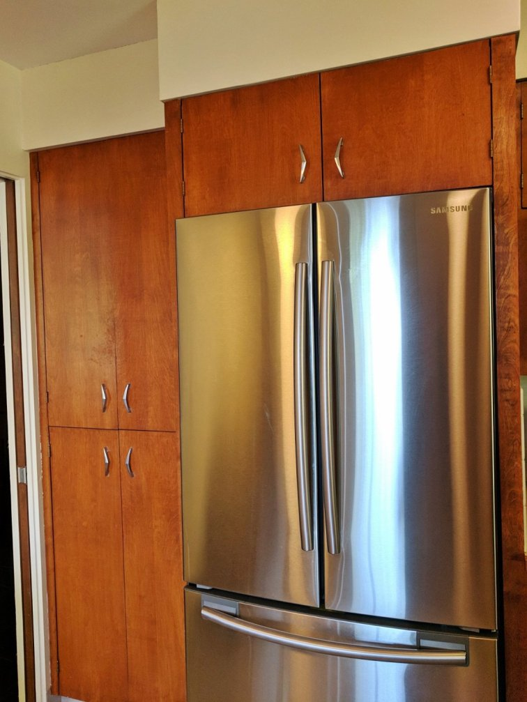 Modern stainless steel fridge