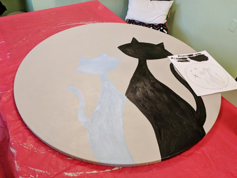 Painting cat bodies on mid-century modern cat painting