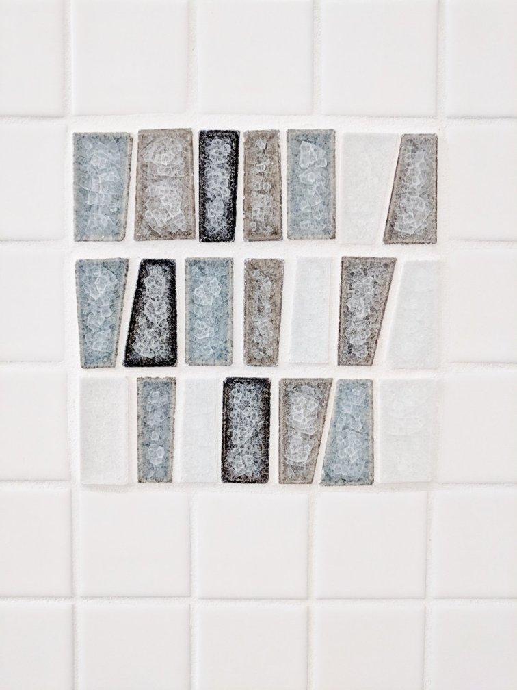Custom blue tile layout for mid-century modern shower