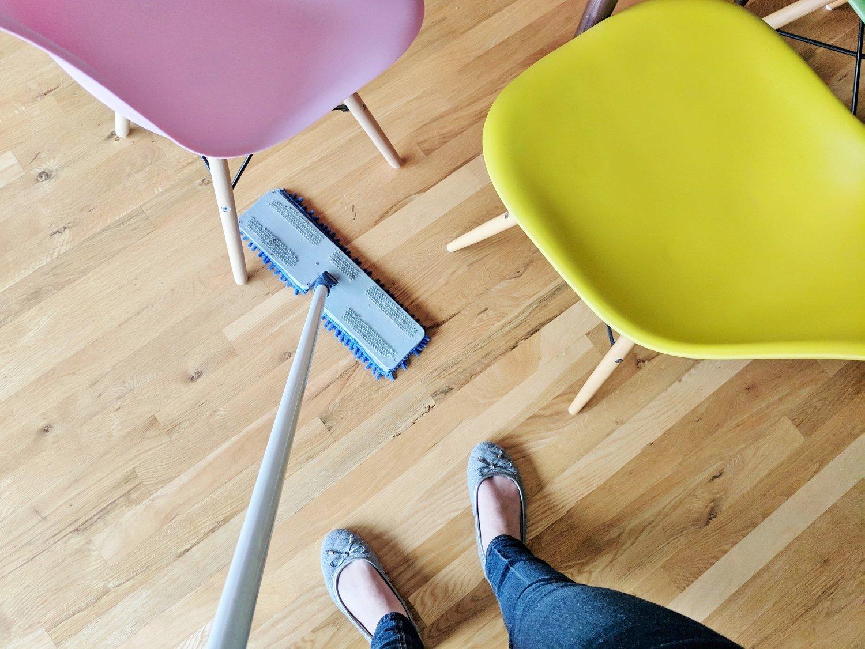 Sweeping a hardwood floor