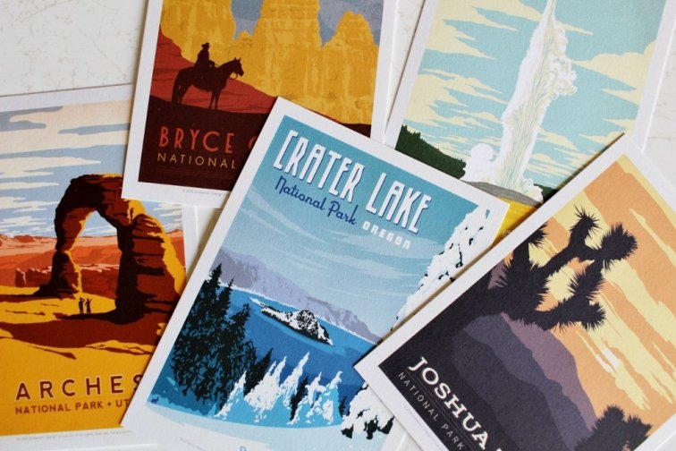 Vintage national park poster postcards