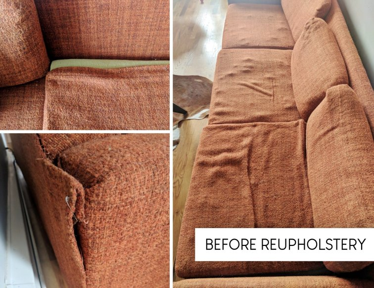 Mid-century modern sofa before reupholstery