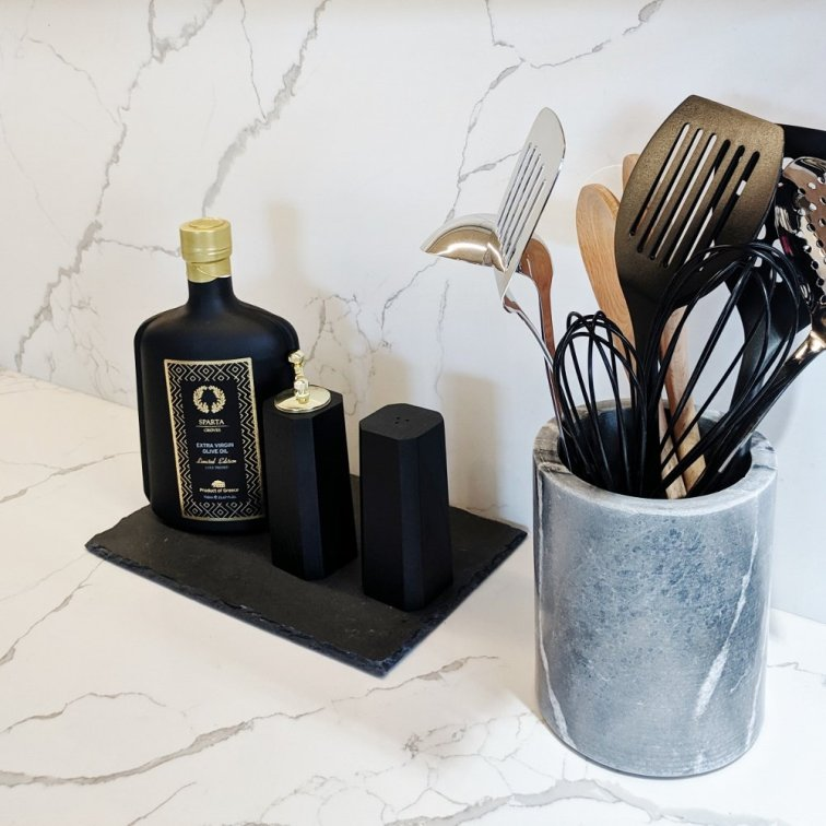 Tray and utensil holder idea for styling kitchen counters