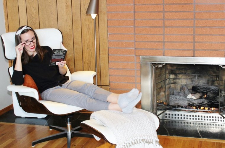 Getting the hygge feels reading a book by the fireplace