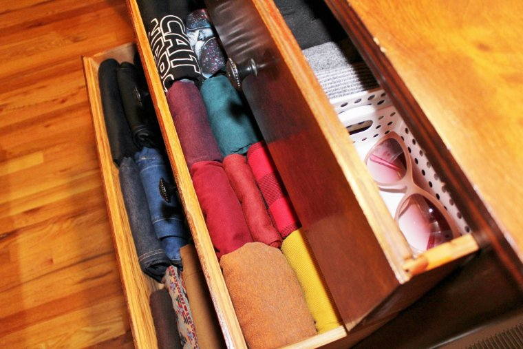 Dresser full of KonMari folded clothes