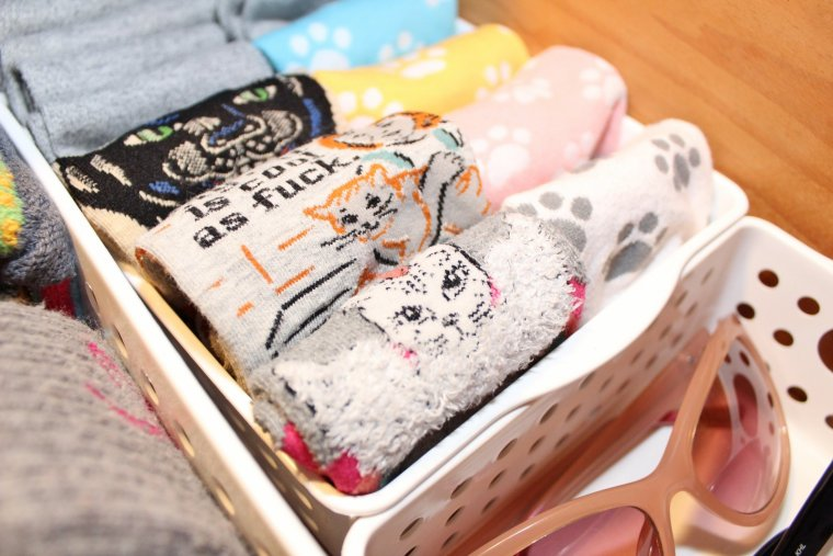 Cat socks folded KonMari style