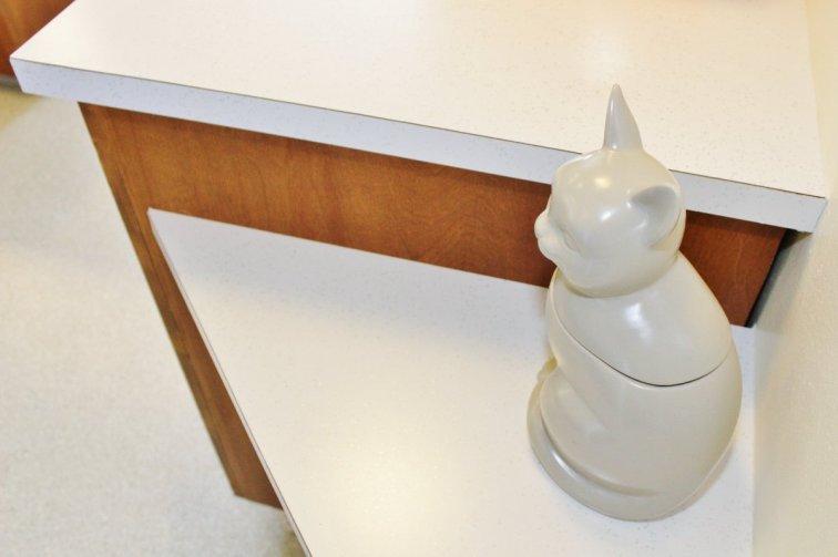 New glitter laminate countertops in mid-century modern kitchen