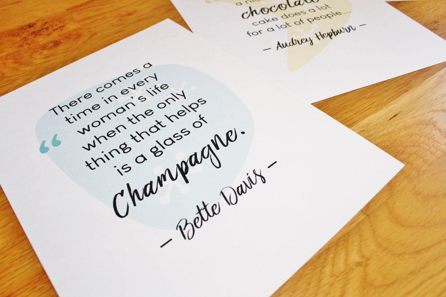 Retro printables with Bette Davis and Audrey Hepburn quotes
